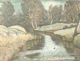 wood-engraving print: Winter Morning